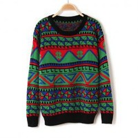 Ethnic Style Round Neck Geometric Pattern Long Sleeve Sweater For Women