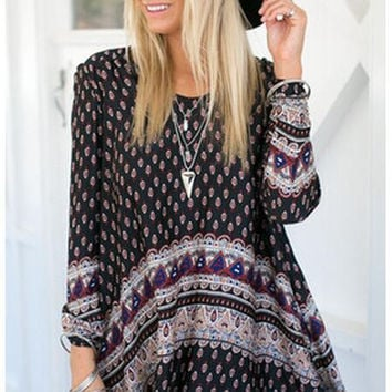 Black Ethnic Printed Long Sleeve Dress