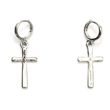 Cross Earrings Dangling Silver Tone Statement EE07 Fashion Jewelry