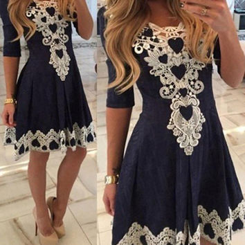 Women Summer Lace Dress Sexy vestidos 2016 Lady Short Sleeve Lace Patchwork High Waist Pleated Casual Knee Length Dress#3546 SM6