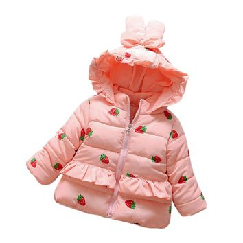 Baby Girls Outwear winter coat Strawberry Warm Winter Tops Casual Clothes Coat Infant Toddler winter clothes drop ship