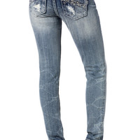 Crushed Diamonds Mid-Rise Skinny