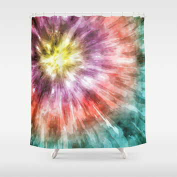 Color Filled Tie Dye Shower Curtain by Phil Perkins