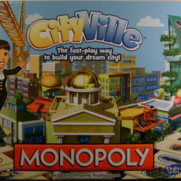 Monopoly CityVille Hasbro Board Game Zynga Sealed Property Trading Building
