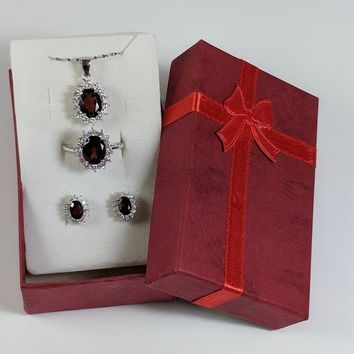 Genuine Garnet and CZ set in solid 925 Sterling Sliver Jewelry SET, Necklace/Earrings/Ring