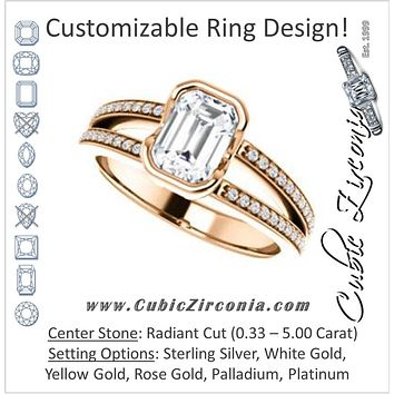 Cubic Zirconia Engagement Ring- The Monami (Customizable Bezel Radiant Cut with Split-pavé Band Accents & Euro Shank)