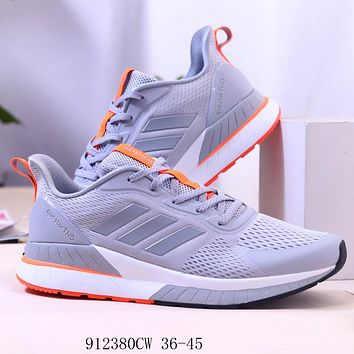 Adidas Questar TND Shamrock Breathable Mesh Low Lace Up Couple Running Casual Sneakers Grey