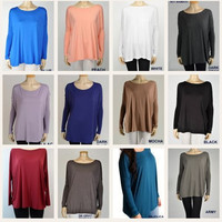 *On Sale* Piko Long Sleeve Bamboo/Spandex Slouchy Tops - Many Colors