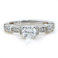 Diamond Accented Moissanite Engagement Ring - Vix