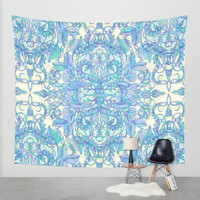 Lilac, Mint & Aqua Art Nouveau Pattern Wall Tapestry by Micklyn