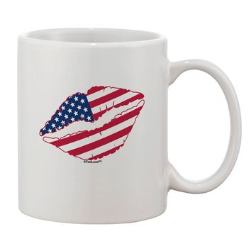 American Flag Lipstick Printed 11oz Coffee Mug by TooLoud