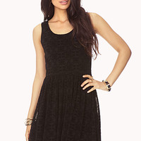 FOREVER 21 Poetic Fit & Flare Dress Black