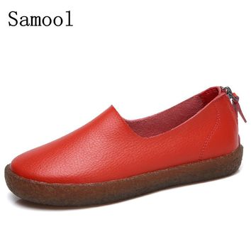 Shoes Woman Leather Women Shoes Flats Colors footwear Loafers Slip On Women's Flat Shoes Moccasins big Size Zapatos Mujer AK3