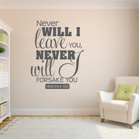 Wall Decal Bible. Never will I leave you - CODE 090