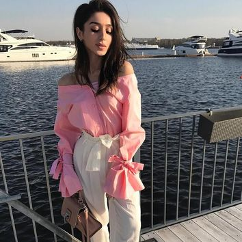 Bow trumpet sleeves boat neck blouse shirt