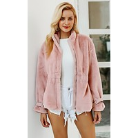 Coming At You Faux Fur Long Sleeve Buckle Cuffs Cinch Waist Zip Front Coat Outerwear
