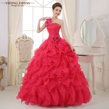 Romantic 2017 Colorful Organza A line Beading Ruched One Shoulder Quinceanera Dresses Beautiful Party Vestidos