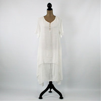 White Dress Women Large Loose Fitting Dress Hippie Bohemian Summer Dress Casual Short Sleeve Dress with Pockets Layered Rayon Women Clothing