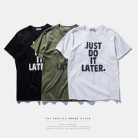 """Just Do It Later"" Print Short Sleeve T-Shirt"