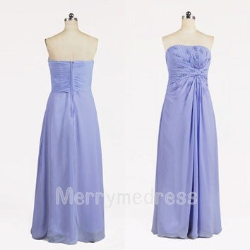 2014 Beads Light Purple Ruffled Strapless Long Bridesmaid Dress, Floor Length Chiffon Formal Evening Party Prom Dress New Homecoming Dress