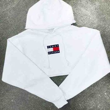 Tommy Hilfiger Popular Women Casual Long Sleeve Crop Top Pullover Hoodie Sweater White I