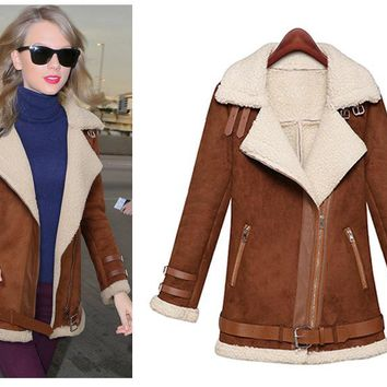 Winter Woman Suede Jackets Long Designer Shearling Coats Biker Warm Turn Collar Vintage Overcoat Brown Size S-Xl