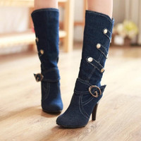 fashion Half boots denim Thin heels Buckle strap Solid Black Blue Cool