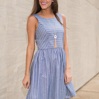 Pin Drop Dress, Chambray