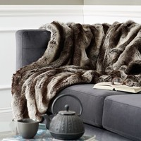Ombre Faux Fur Throw - Gray