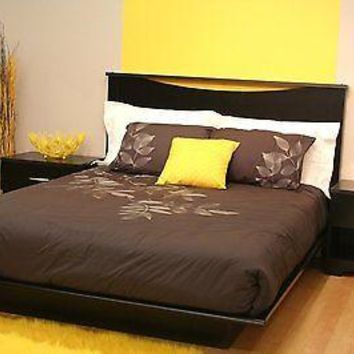 South Shore Furniture Platform Bed Frame With Moldings, Basic Collection - Colors & Sizes