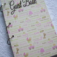 Baby Shower Guest Book Shower Sign In Book New Mom Advice Book for a Girl