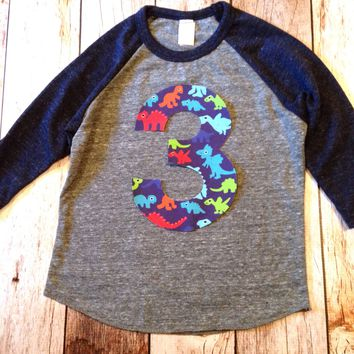 Dinosaurs birthday shirt Eco navy grey Boys Birthday Shirt 2 3 4 5 6 7 8 Year Old  Birthday sports raglan basball T rec monsters