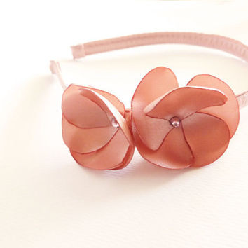 Dusty pink satin flower headband with Swarovski