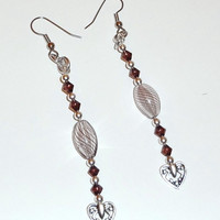 Red-Violet Color Bead Heart Dangle Earrings