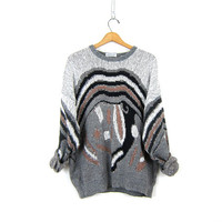 Retro Abstract sweater. 80s graphic knit Boyfriend sweater. Gray Black pullover Jumper Oversized Men's Sweater Baggy Slouch Size XL