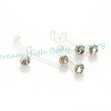 CLEAR Gem Crystal BIOPLAST NOSE STUDS NOSE RINGS  Retainer Body Piercing Jewelry 120pcs/lot Free Shipping