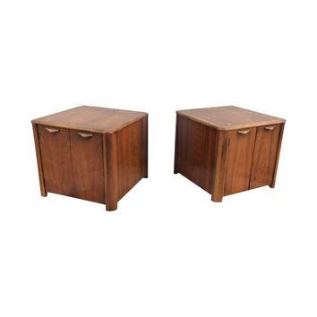 Pre-owned 1960s Modern Lane Walnut Side Tables - A Pair