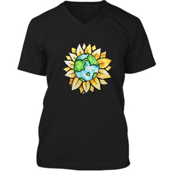 Sunflower earth shirt sunflowers earth day tee shirts Mens Printed V-Neck T
