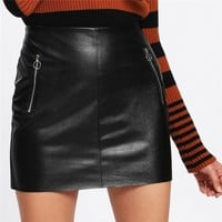 Leather High Waist Skirt