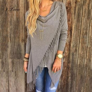 SSLine 2018 Women Cardigans Tops Womens Casual Loose Solid Irregular Hem Tassel Knitted Sweaters Cardigan Cape Poncho for ladies