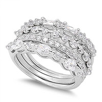 Stackable Wedding Set Clear CZ Unique Ring .925 Sterling Silver Band Size 7 (RNG21219-7)