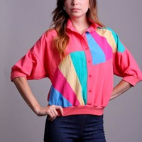 80s Vintage Neon Color Block Shirt with Batwing Sleeves #love #want #need #wish #cute #80s #neon #vintage #retro #rainbow
