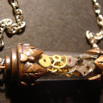 Unique Watch Parts and Gears in Copper Vial by CreepyCreationz