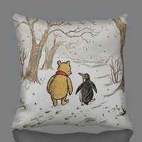 "penguin and pooh Zippered Pillow Cases 18x18"" pillow Case"