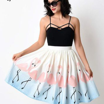 ONETOW Qybian 2017 New Arrival Summer Pleated Umbrella Midi Skirts High Waist Flamingo printing Circle Swing Elegant Skirts Female