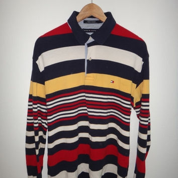 New Year Sale Vintage Tommy Hilfiger Multi-Colored Vertical Striped  Long Sleeve Shirt Hip Hop Swag