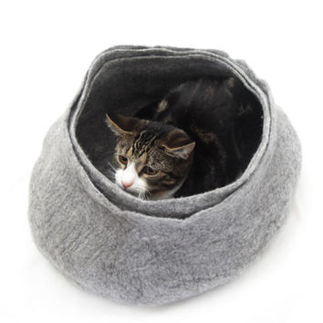 Cat Bed House Basket natural grey
