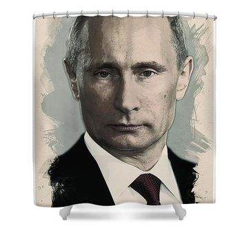 Watercolor Portrait Of President Of Russia, Vladimir Putin - Shower Curtain