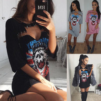 Skull Print T-shirts Dress Summer Women's Fashion One Piece Dress [10577435020]