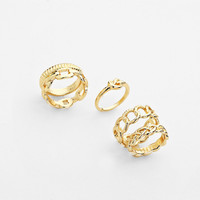 Chains Of Links Ring Set Gold